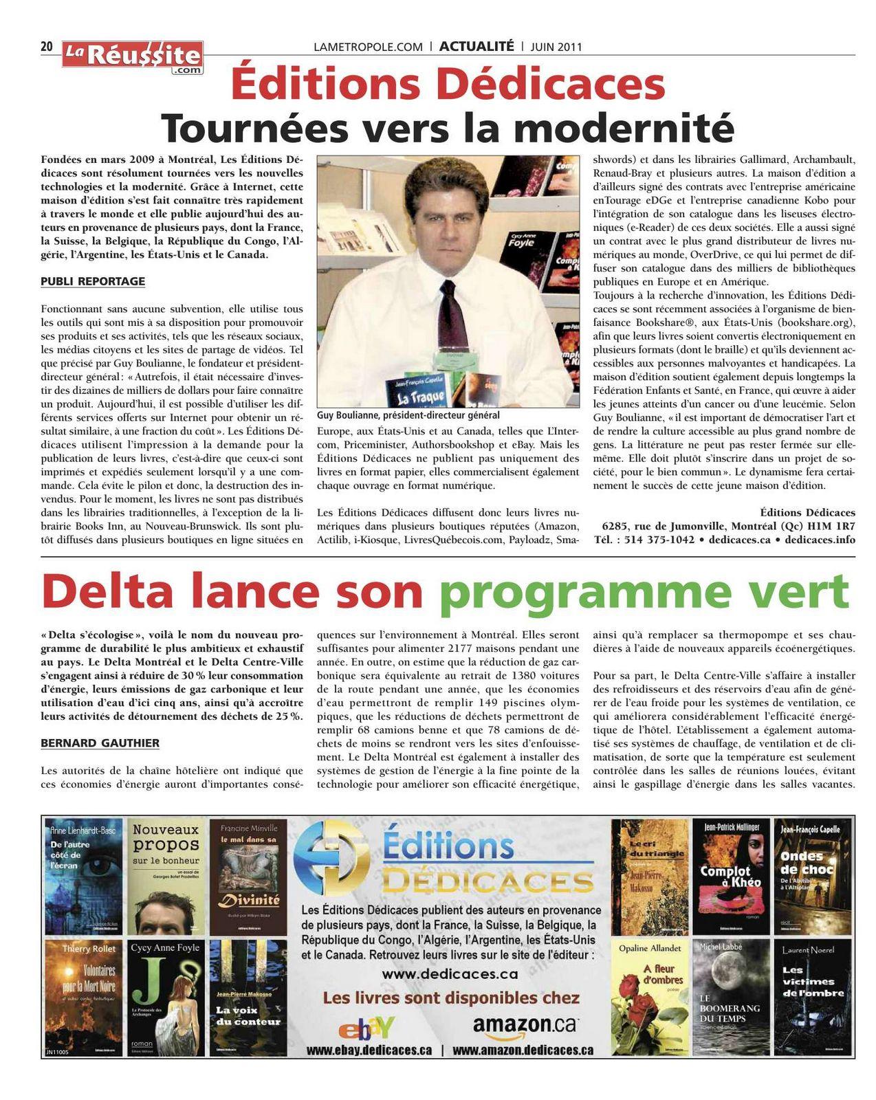 La Métropole (juin 2011) incluant une publicité et un article des Éditions Dédicaces.