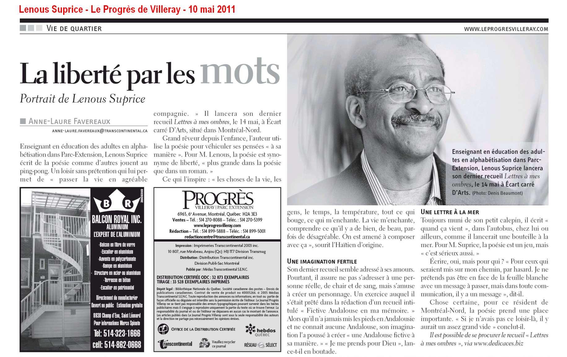 Lenous Suprice dans l'hebdomadaire « Le Progrès de Villeray » (10 mai 2011).