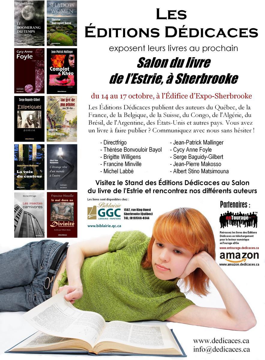 Publicité des Éditions Dédicaces dans le catalogue du Salon du livre de l'Estrie