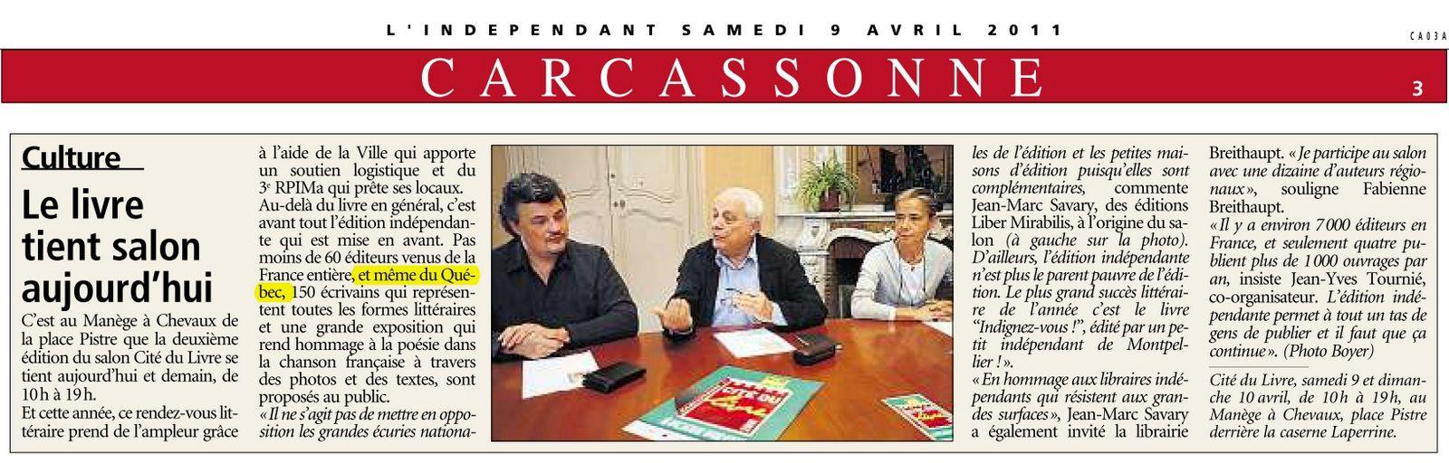 L'Indépendant, samedi le 9 avril 2011, page 3.